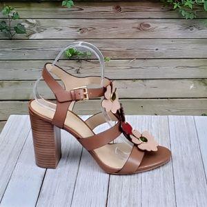Michael Kors Floral Kit Strap Block Heel Open Toe